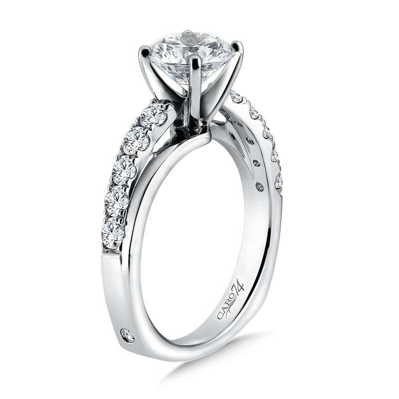Caro74 Criss Cross Diamond Engagement Ring in 14K White Gold with Platinum Head (1-1/2ct. tw.)