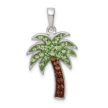 Sterling Silver Green/Brown Preciosa Crystal Palm Tree Pendant