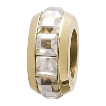 316L stainless steel, gold pvd and white Swarovski® Elements crystals