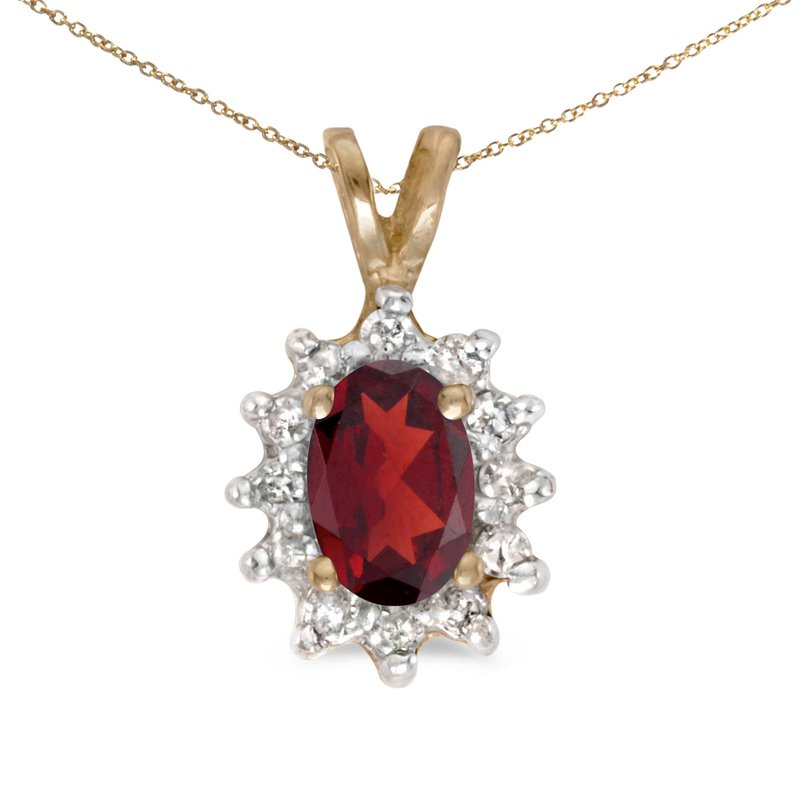 Color Merchants 14k Yellow Gold Oval Garnet And Diamond Pendant