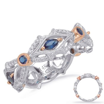 Rose & White Gold Sapphire & Dia Ring