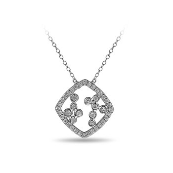 10K WG and diamond Cushion shape necklace with jump ring in split prong and bezel setting