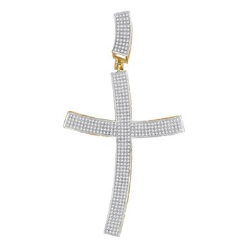 10kt Yellow Gold Mens Round Diamond Curved Contoured Roman Cross Charm Pendant 1.00 Cttw