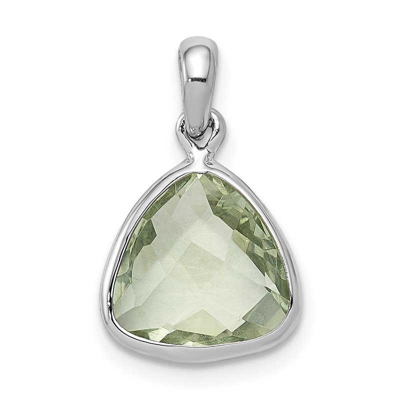 Quality Gold Sterling Silver Rhodium-plated Green Quartz Pendant