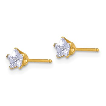 14k Madi K 4mm Violet Colored CZ Star Earrings