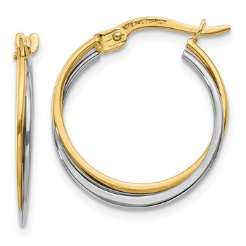 14K Two-Tone Polished Hoop Earrings