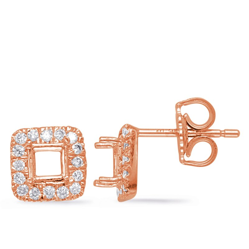 S. Kashi  & Sons Rose Gold Diamond Earring for 4mm cente