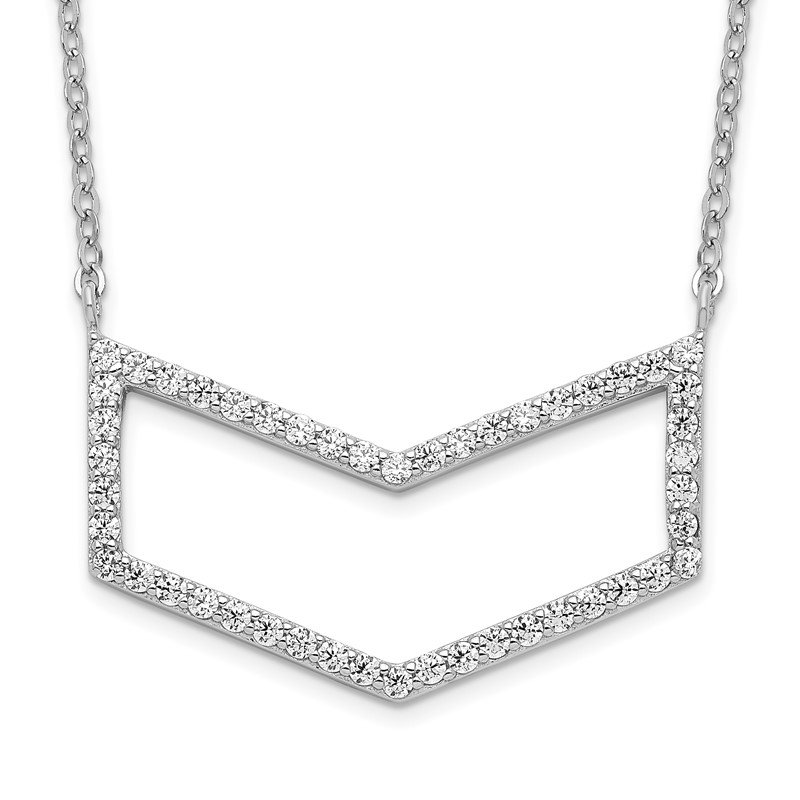 Quality Gold Sterling Silver Rhodium-plated CZ Necklace