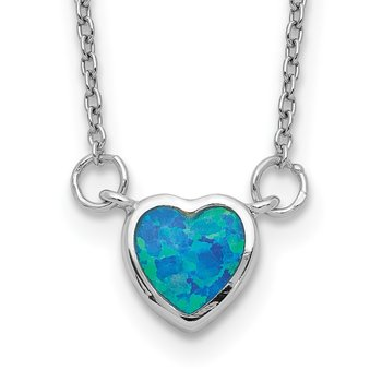 Sterling Silver Rhodium-plated Created Opal Heart w/ 4in ext. Choker
