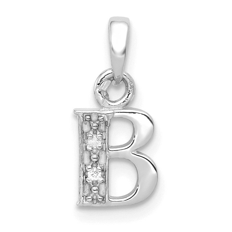 Quality Gold 14KW with Rhodium Diamond Letter B Initial Pendant