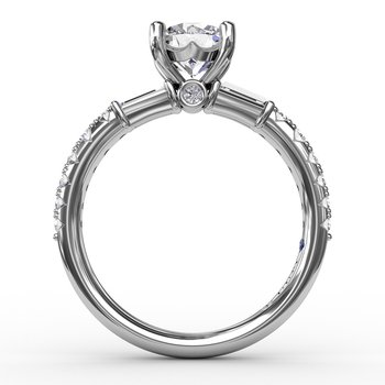 Contemporary Diamond Solitaire Engagement Ring With Baguettes