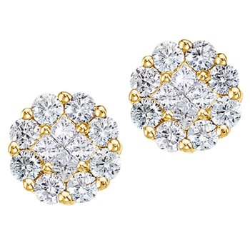 14K Yellow Gold 1 ct Diamond Clustaire Stud Earrings