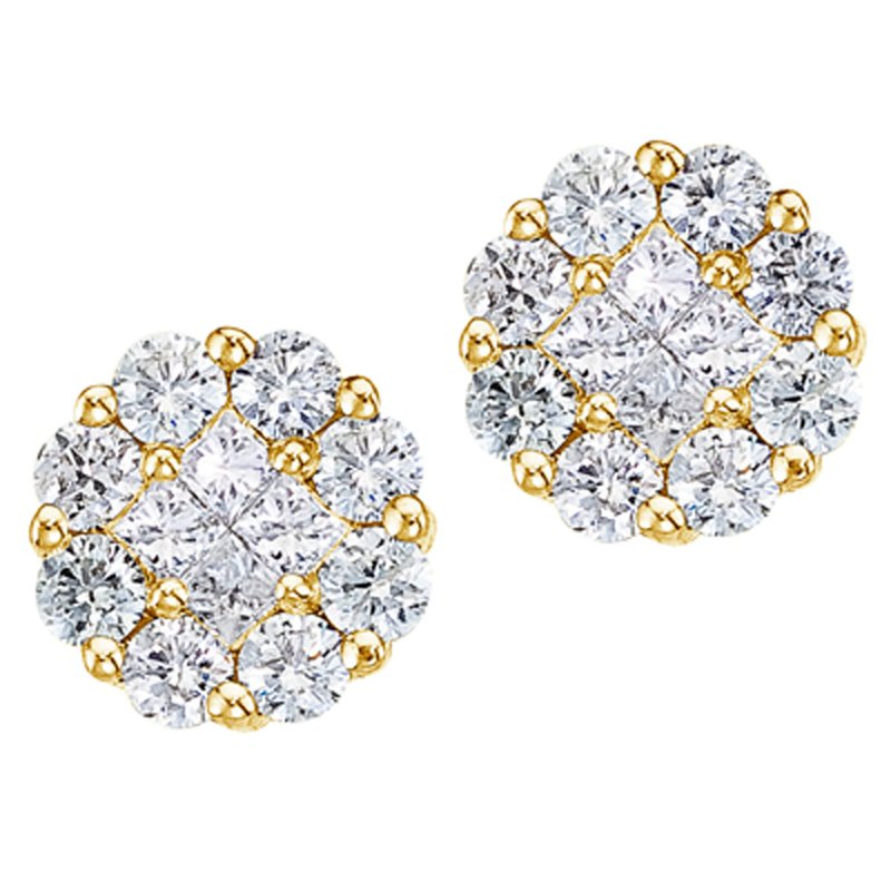 Color Merchants 14K Yellow Gold 1 ct Diamond Clustaire Stud Earrings