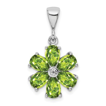 Sterling Silver Rhodium Peridot & Diamond Flower Pendant