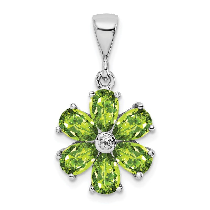 Quality Gold Sterling Silver Rhodium Peridot & Diamond Flower Pendant