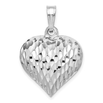 Sterling Silver Rhodium-plated Polished & D/C Heart Pendant