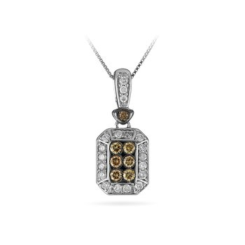 14K WG White & Champagne Diamond Fashion Pendant