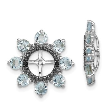 Sterling Silver Rhodium Aquamarine & Black Sapphire Earring Jacket