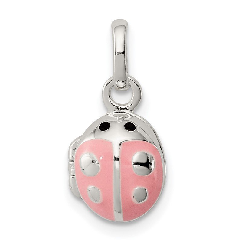 Quality Gold Sterling Silver Pink Enamel Ladybug Locket Pendant