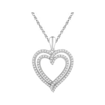 10kt White Gold Womens Round Diamond Double Frame Heart Pendant 1/2 Cttw