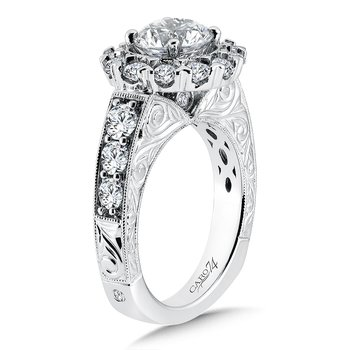 Halo Engagement Ring with Side Stones in 14K White Gold with Platinum Head (1-1/2ct. tw.)