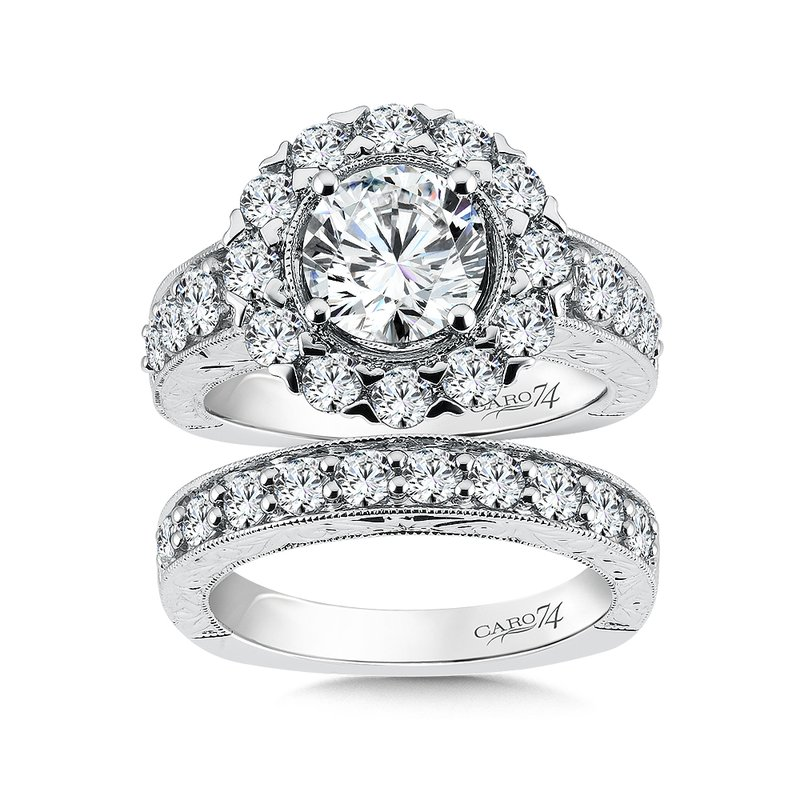 Caro74 Halo Engagement Ring with Side Stones in 14K White Gold with Platinum Head (1-1/2ct. tw.)