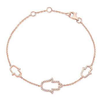 Rose Gold Piety 3 Stationed Hamsa Bracelet