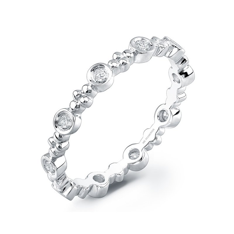 White Gold Beaded Bezel Stackable Band