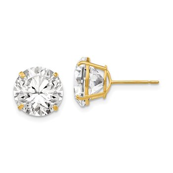 14k 10mm Round CZ Post Earrings