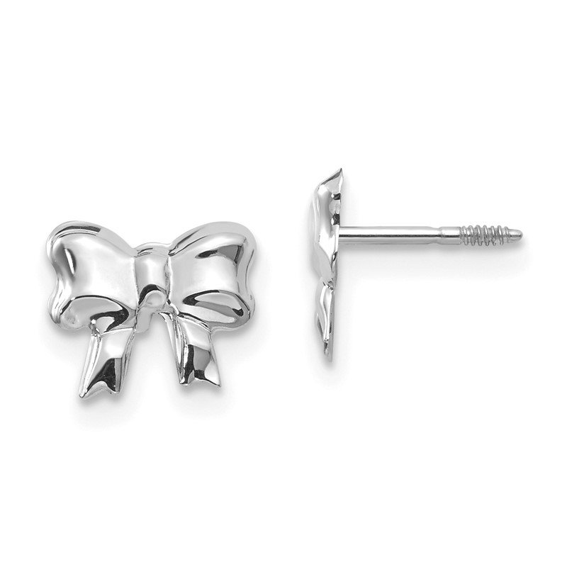 Quality Gold 14k White Gold Madi K Rhodium-plated Bow Screwback Post Earrings