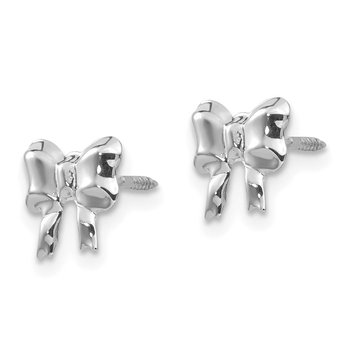14k White Gold Madi K Rhodium-plated Bow Screwback Post Earrings