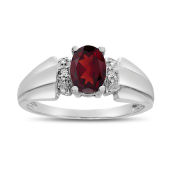 10k White Gold Oval Garnet And Diamond Ring