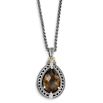 Sterling Silver w/14k Diamond & Smoky Quartz Necklace