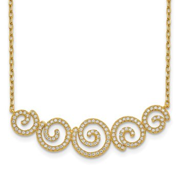 Sterling Silver Gold-tone CZ Swirls 16in w/2in ext. Necklace