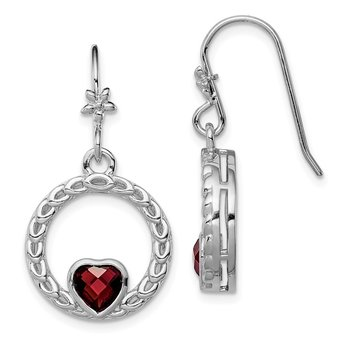 Sterling Silver Rhodium-plated Garnet Heart Dangle Earring