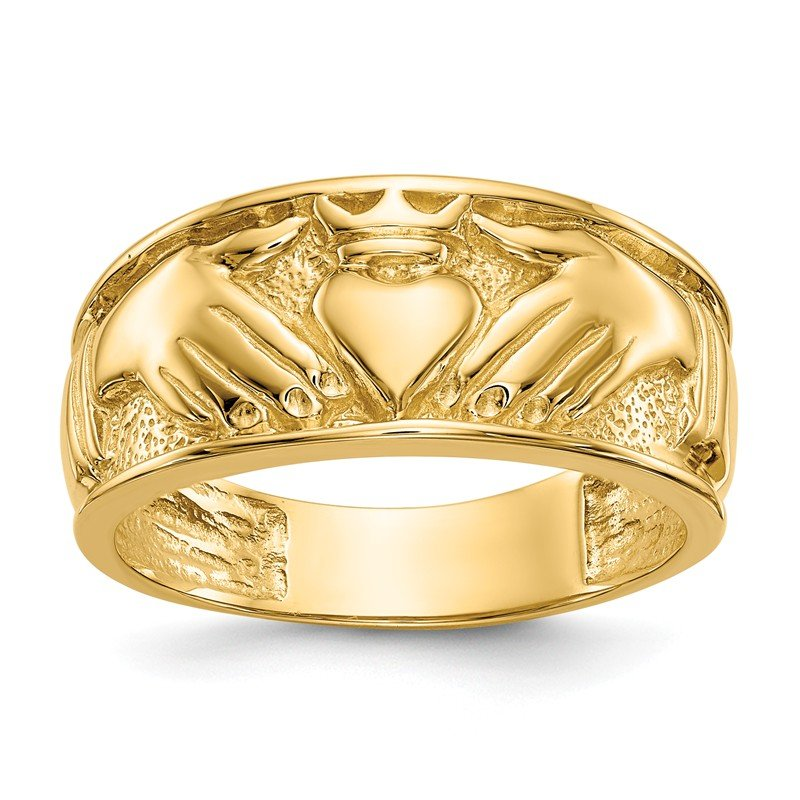 Quality Gold 14k Polished Men's Claddagh Band