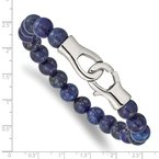 Chisel Stainless Steel Polished Genuine Lapis Beaded 9in Bracelet