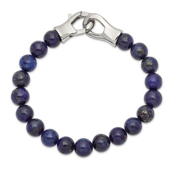 Stainless Steel Polished Genuine Lapis Beaded 9in Bracelet