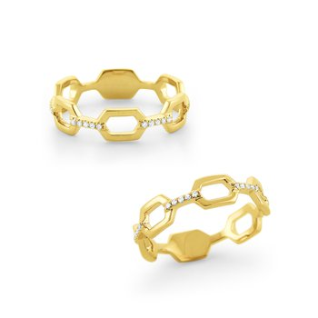 Hexagonal Frame Diamond Band Set in 14 Kt. Gold