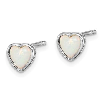 Sterling Silver Rhodium Plated Lab Created Opal Post Earrings