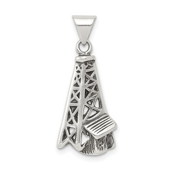 Sterling Silver Antiqued Oil Derrick Pendant
