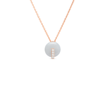 18Kt Gold Disc Pendant With Diamonds And White Jade