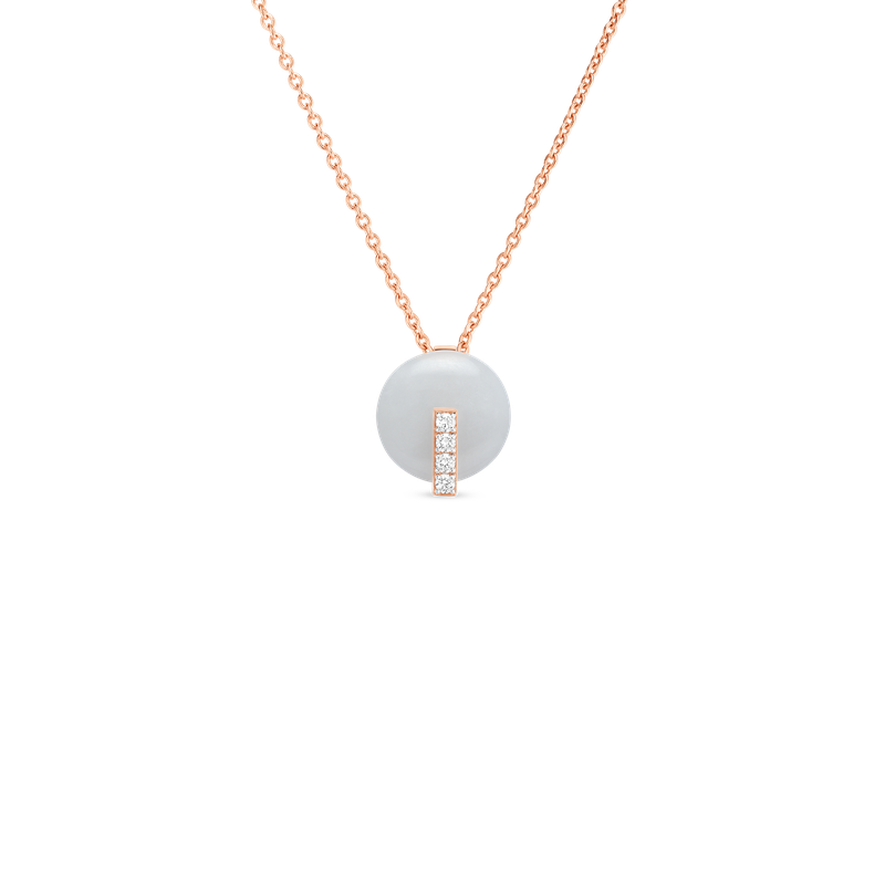 Roberto Coin 18Kt Gold Disc Pendant With Diamonds And White Jade