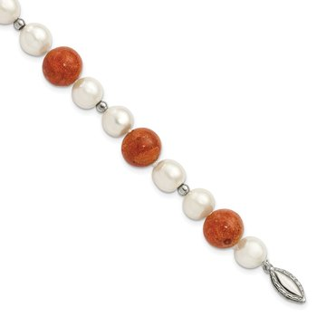 Sterling Silver FW Cultured Pearl/Stabilized Red Coral Necklace