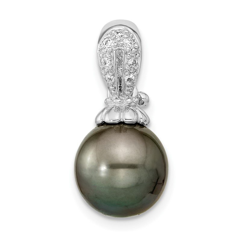 Quality Gold 14k WG 10-11mm Round Saltwater Cultured Tahitian Pearl .05ct Dia. Pendant