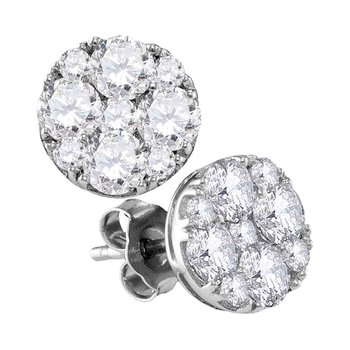 10kt White Gold Womens Round Diamond Cluster Screwback Earrings 2 Cttw
