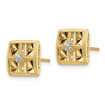 14K White Rhodium Diamond-Cut Square Earrings