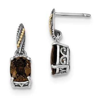 Sterling Silver w/14k Diamond and Smoky Quartz Dangle Post Earrings