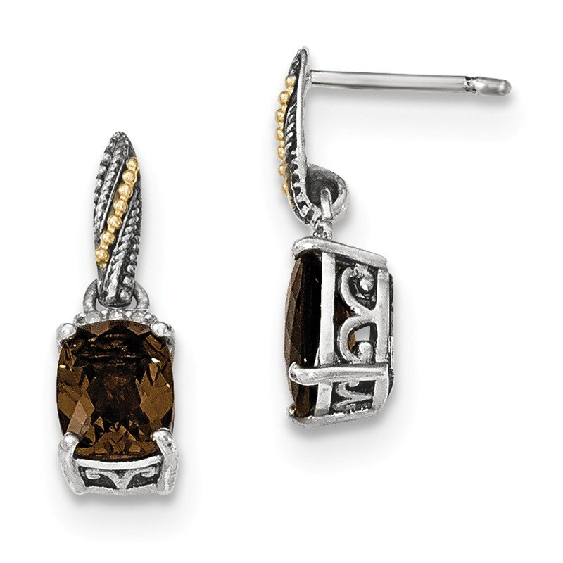 Shey Couture Sterling Silver w/14k Diamond and Smoky Quartz Dangle Post Earrings