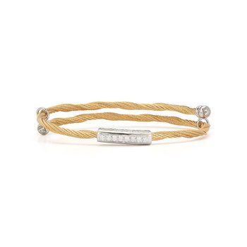 Yellow Cable Flex Size Bracelet with Bar Diamond Station set in 18kt White Gold